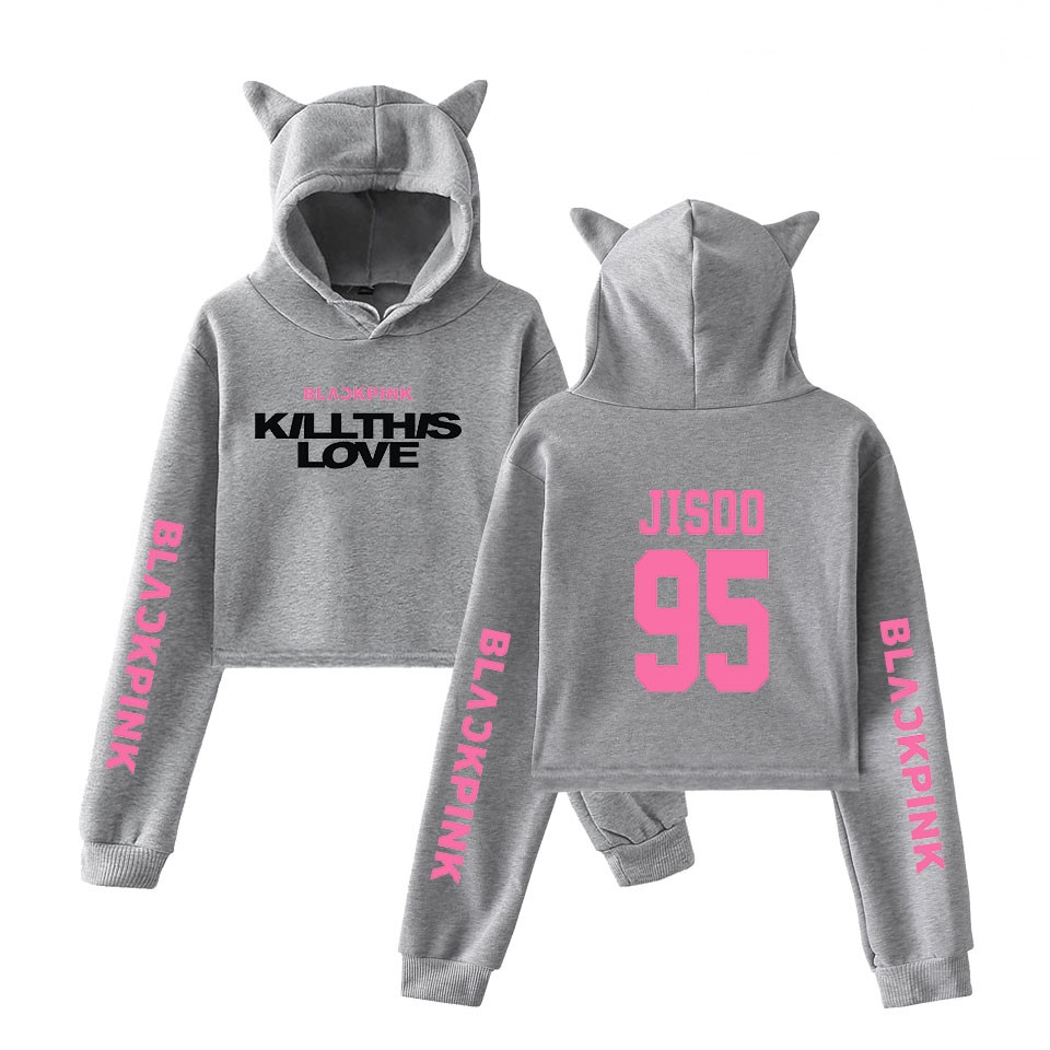 BlackPink Kill This Love Pink Letter Cat Ear Hoodie Grey