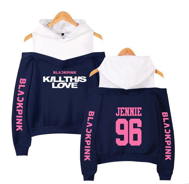 BlackPink Kill This Love Pink Letter Off-Shoulder Hoodie Blue