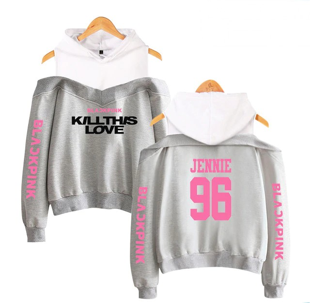 BlackPink Kill This Love Pink Letter Off-Shoulder Hoodie Grey
