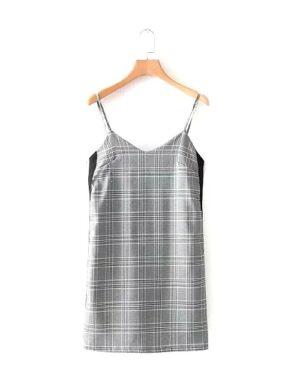 blackpink-jisoo-grey-checkered-dress