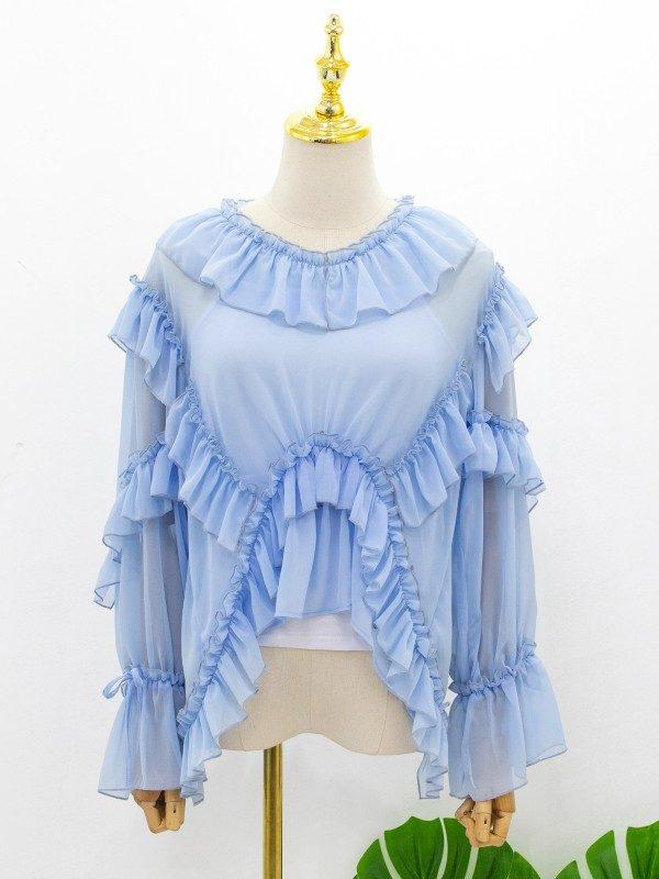 Blue Long Sleeve Ruffle Blouse   Irene – Red Velvet