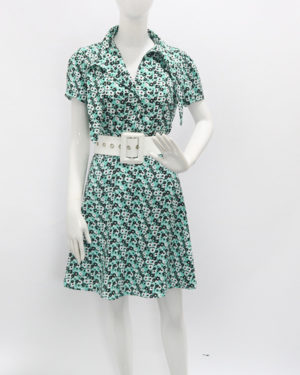 Hyuna Green Floral V-Neck Dress (9)