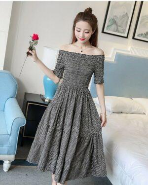 Hyuna Off-Shoulder Floral Long Dress (12)