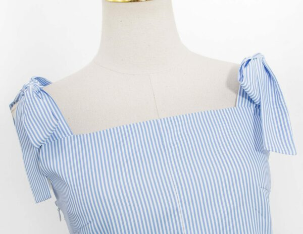 Blue Striped Bow Tie Top | Jennie – BlackPink