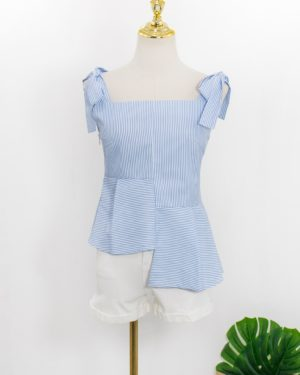 Jennie Blue Striped Blue Shoulder Tie Top (4)