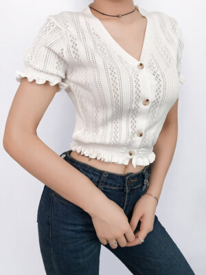 Jennie V-Neck Crop Knit Top (5)