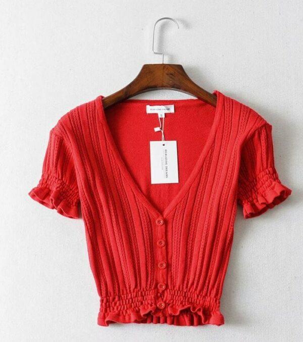 V-Neck Crop Knit Top   Jennie – BlackPink