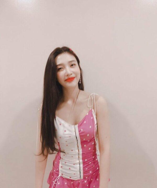 Pink Polka Dots Strap Dress | Joy – Red Velvet