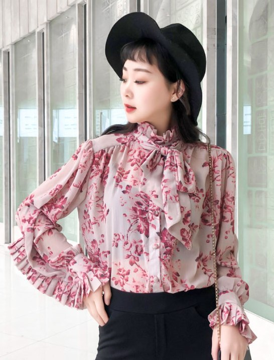Floral Folded Long Sleeved Blouse   Mina – Twice