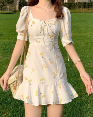 Rose Fresh Cherry White Dress (7)