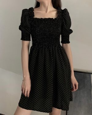 Rose Polka Dots Black Dress (13)