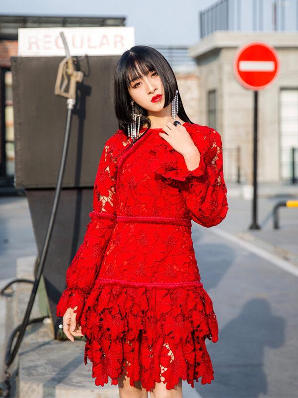 Red Lantern Sleeve Lace Dress | Shuhua – (G)I-DLE