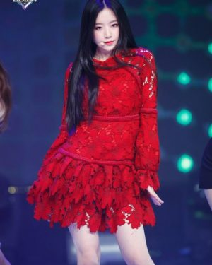 Red Lantern Sleeve Lace Dress | Shuhua – (G)I-DLE