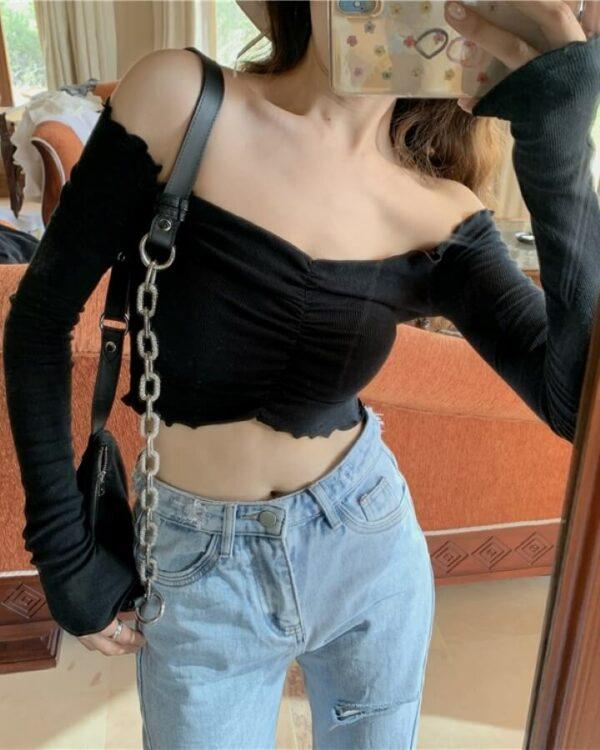 Long Sleeved Fit Crop Top   Soojin – (G)I-DLE