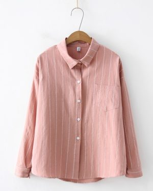 Hong Seol Apricot Striped Blouse Cheese in the Trap (2)