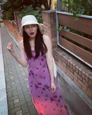 Floral Purple Strap Sleeveless Dress | Hyuna