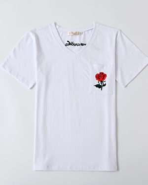 Hyuna Red Rose White T-Shirt (1)