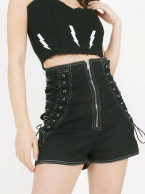Irene High Waist Sides Lace Shorts (8)
