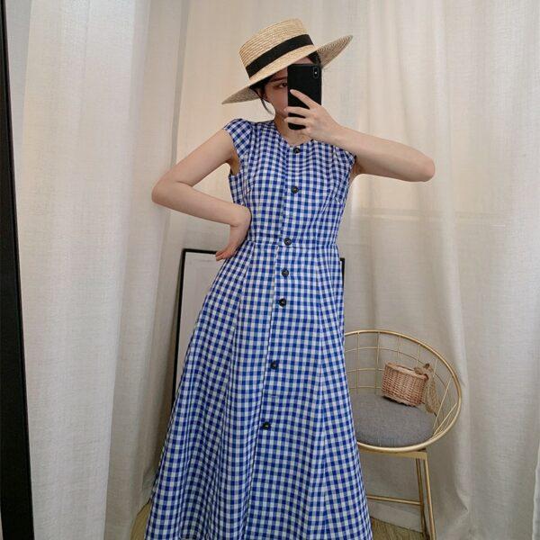 Blue Plaid Long Dress   Jennie – BlackPink