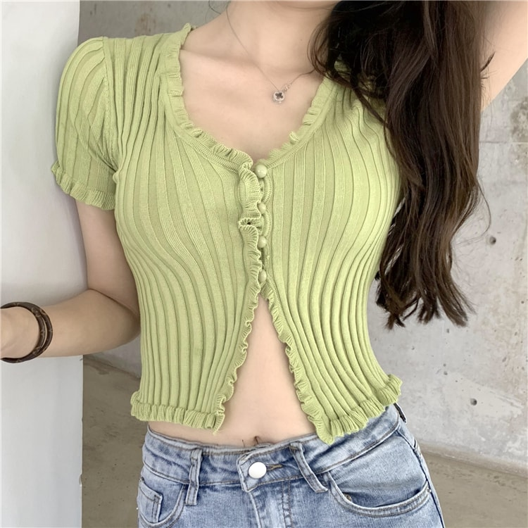 Buttons Lace Knit Cardigan Shirt | Jennie BlackPink | K