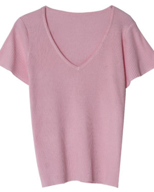 Jennie Pink V-Neck Shirt (1)