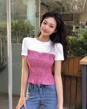 Jennie White & Red Plaid Slim Fit Top (1)