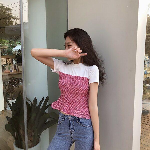 White & Red Plaid Slim Fit Top   Jennie – BlackPink