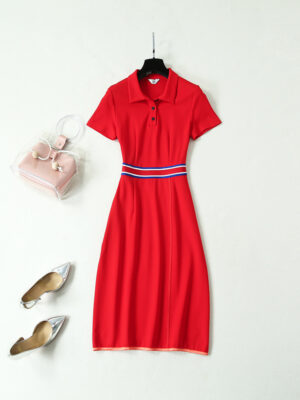 Joy & Hani Red Knit Long Dress (2)