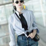 Blue Ruffled Neck Blouse | Lisa – BlackPink