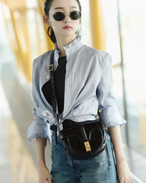 Lisa Blue Ruffled Neck Blouse (4)