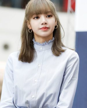 Blue Ruffled Neck Blouse | Lisa – BlackPink