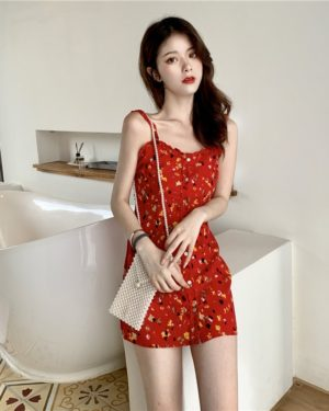 Lisa Floral Red Sling Mini Dress (3)