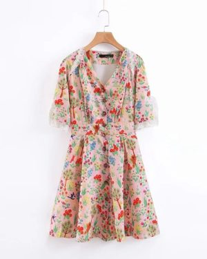 Lisa Floral Slim Waist Lace Dress (2)
