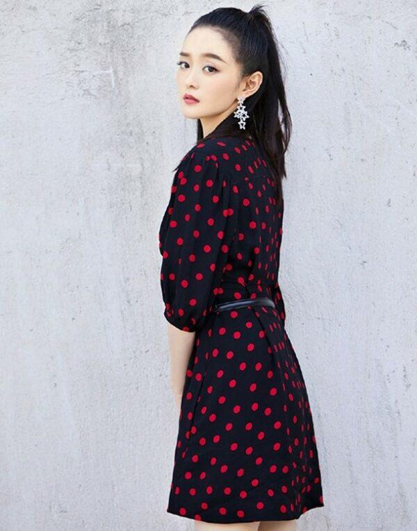 V-Neck Red Polka Dots Dress | Lisa – BlackPink