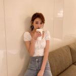 White Wide Collar Crop Top | Momo – Twice
