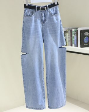Nayeon Cut Thighs Denim Pants (8)