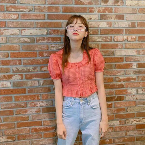 Red Plaid Ruffled Collar Top | Nayeon – Twice