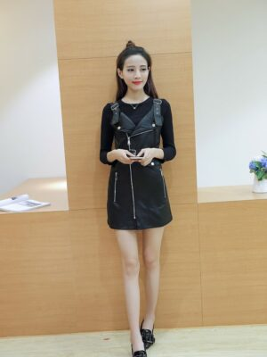Rose Black Leather Dress (9)