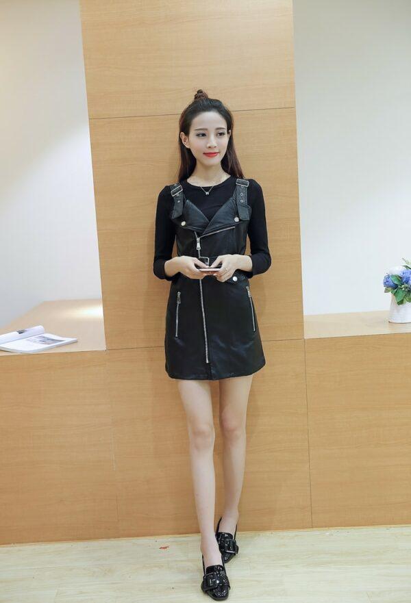 Black Leather Strap Dress | Rose – BlackPink