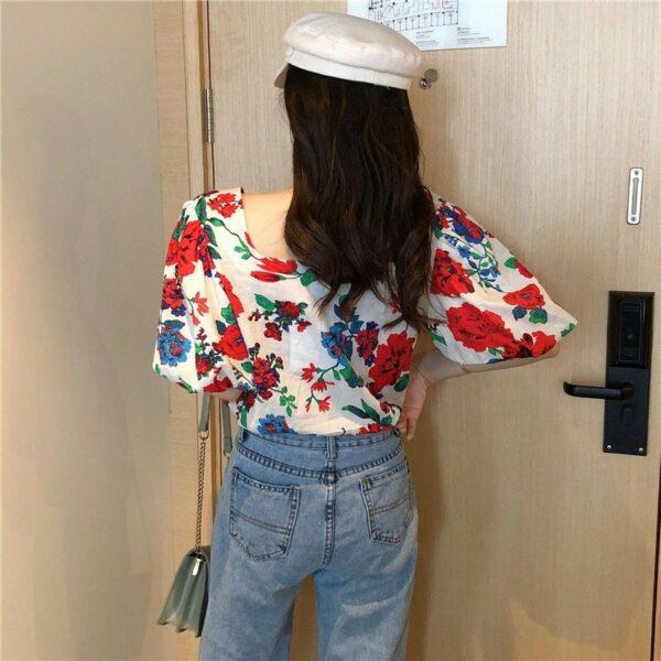 Floral Lantern Sleeve Shirt | Seulgi -Red Velvet
