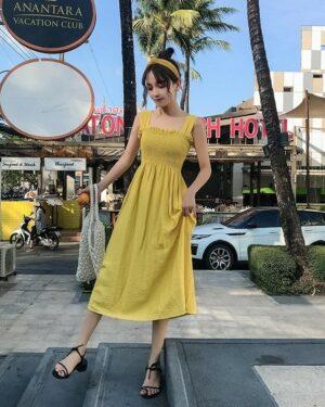 Soojin Yellow Sleeveless Dress (2)