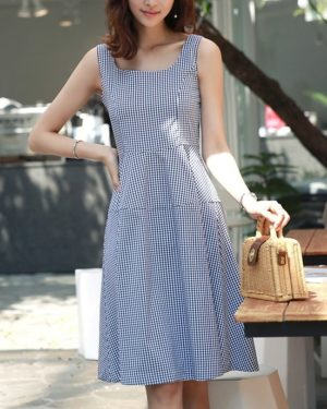 Yeri Blue Plaid Sleeveless Dress (11)