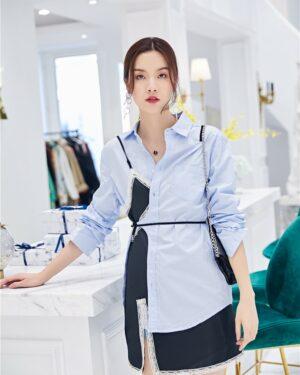 Yuqi Blue Polo Shirt & Lace Assymetric Dress (2)