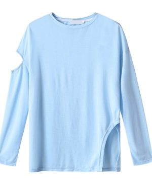 Yuqi Blue See-through Long Sleeve Shirt (2)