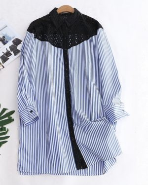 Yuqi Striped Long Sleeve Lace Shirt (1)