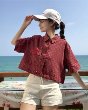 Chungha Plaid Wasit Tight Polo Shirt (2)