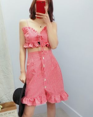 Dahyun Red Sling Plaid Tube Top and Skirt Set (1)