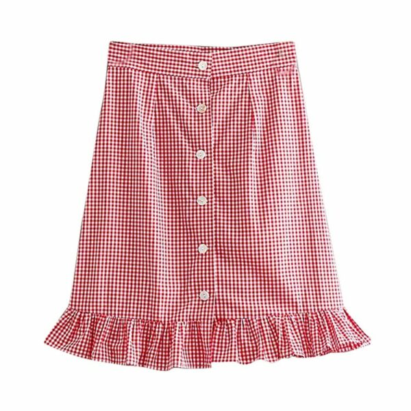 Red Plaid Sling Tube Top and Skirt Set   Dahyun – Twice