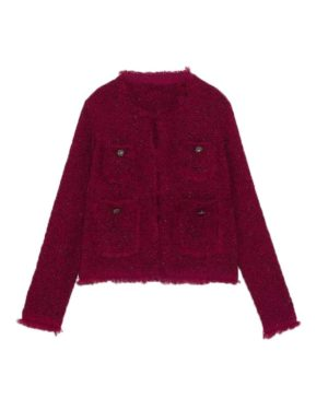 Jisoo Red Knit Jacket (1)