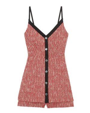 Jisoo Red Sling Knit Jumpsuit Dress (4)